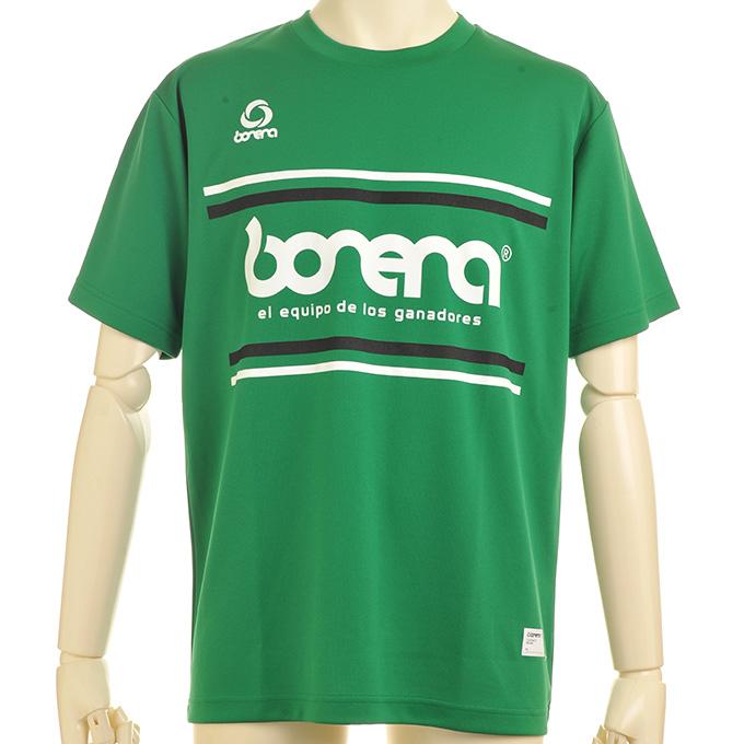 ボネーラ 緑のプラシャツ 白と黒のライン入り