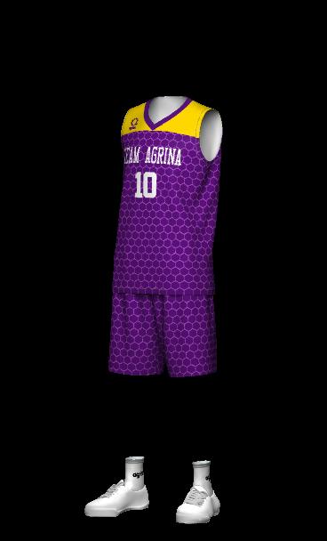 agrina(アグリナ)バスケユニフォームのかっこいいチームオーダー 3Dシミュレーション画像